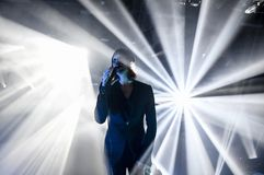 Ville Valo of rock band HIM. Ville Valo, the lead singer and frontman of HIM. The Finnish rock band HIM has their final concert at Helldone Festival held at the Royalty Free Stock Photography