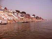 Ville Varanasi, Inde de temples Images libres de droits