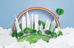 Ville verte avec le bâtiment illustration libre de droits