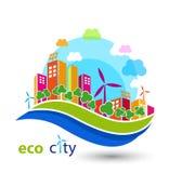 Ville verte d'eco avec des maisons Photos stock