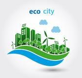 Ville verte d'eco avec des maisons Photo stock
