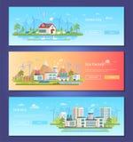 Ville verte - ensemble d'illustrations plates modernes de vecteur de style de conception illustration libre de droits