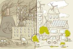 Ville verte et industrielle Illustration Stock