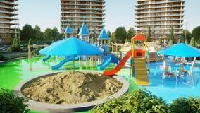 Ville, visualisation 3d architecturale de terrain de jeu rendu 3d Photo libre de droits