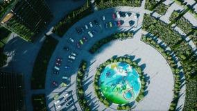 Ville, visualisation 3d architecturale de ville Silhouette d'homme se recroquevillant d'affaires Animation 4K réaliste banque de vidéos