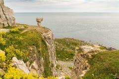 Villebrådet fördärvar på huvudet för ` s för St Aldhelm, den Jurassic kusten, Dorset, UK fotografering för bildbyråer