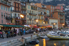 Villefranche on the Cote d`Azur. Night scene in Villefranche on the Cote d`Azur France Royalty Free Stock Photos