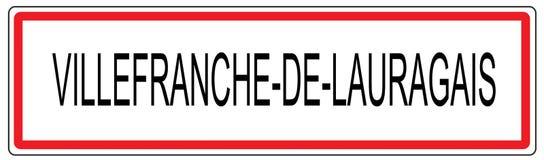 Villefranche De Lauragais miasta ruchu drogowego znaka ilustracja w Fran Obraz Royalty Free
