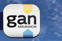 Gan logo on a wall. Villefranche, France - June 11, 2017: Gan logo on a wall. Gan is a former French insurance company. Gan is part of the group Groupama since stock photography