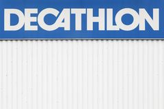 Decathlon sign on a wall. Villefranche, France - October 23, 2016: Decathlon sign on a wall. Decathlon is a french company and one of the world`s largest royalty free stock image