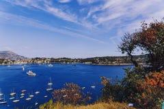Villefranche linii brzegowej i nadmorski widok Fotografia Stock