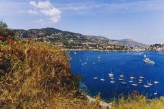 Villefranche linii brzegowej i nadmorski widok Zdjęcie Royalty Free
