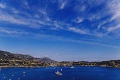 Villefranche linii brzegowej i nadmorski widok Zdjęcie Stock