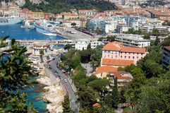 Villefranche Port. A beautiful serene view of a seaside French city Royalty Free Stock Photography
