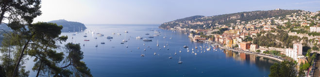 Villefranche Sur Mer. Panoramic view of the beautiful coastal resort of Villefranche Sur Mer, Cote d'Azur, France Royalty Free Stock Photography