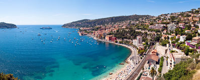 Villefranche-sur-Mer bay. Scenic view of Villefranche-sur-Mer bay and coastline, Cote d'Azur, French Riviera Royalty Free Stock Photography