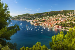 Villefranche-sur-Mer and Cap de Nice on French Riviera. Aerial view of scenic French Riviera mediterranean coast with medieval coastal town Villefranche-sur-Mer Stock Photo