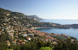 Villefranche-sur-mer and Cap Ferat. The harbor at Villefranche-sur-mer on  the cote d`Azur with Cap Ferat in the background Royalty Free Stock Image