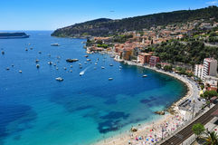 Villefranche-sur-Mer in the French Riviera, France. Aerial view of Villefranche-sur-Mer in the French Riviera, France, and the Mediterranean sea Stock Images
