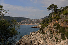 Villefranche-sur-Mer and the Rocky Coast of Cap Ferrat Royalty Free Stock Image