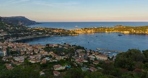 Villefranche-sur-Mer in summer sunset to twilight time-lapse. Cote d`Azur, French Riviera, Alpes Maritimes, PACA, France. Villefranche-sur-Mer, Saint-Jean-Cap stock video