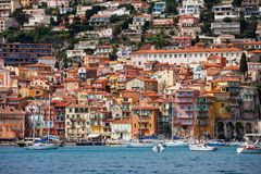 Villefranche Sur Mer Seaside Town On French Riviera. Villefranche sur Mer resort town on French Riviera in France, Old Town houses at the Mediterranean Sea stock image