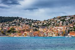 Villefranche Sur Mer Town On French Riviera. Villefranche sur Mer resort town on French Riviera in France, Old Town houses at the Mediterranean Sea stock image
