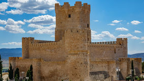 Villena Castle closeup in Costa Blanca Alicante Spain. Long shot of Villena Castle, part of Route of the Castles Royalty Free Stock Photos