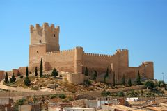 Villena kasztel w Costa Blanca Alicante Hiszpania. Obrazy Royalty Free