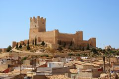 Villena slott i Costa Blanca Alicante Spain. Fotografering för Bildbyråer