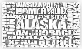 Villes d'état de l'Alaska illustration de vecteur