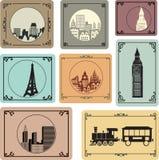 Villes dans le rétro type Image libre de droits