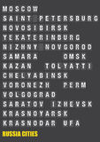 Villes de la Russie sur le volet jumelé Flip Board Display Image libre de droits