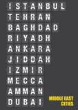 Villes de Moyen-Orient sur le volet jumelé Flip Board Display Image libre de droits