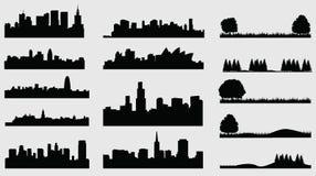 Villes de silhouette de Landscpace illustration stock