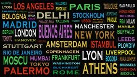 Villes du monde, concept de nuage de mot de destinations de voyage illustration de vecteur