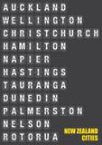 Villes du Nouvelle-Zélande sur le volet jumelé Flip Board Display Image stock