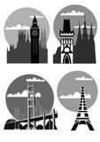 Villes et places célèbres - vecteur Photo libre de droits