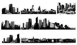 Villes noires et blanches de panorama. Photos libres de droits