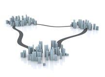 Villes simulées avec des routes Photos libres de droits