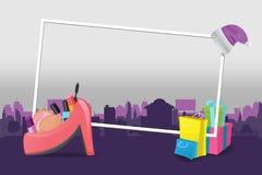 Villes Violet Background Design Vector d'achats Illustration Stock