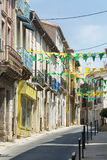 Villeveyrac (France). Villeveyrac (Herault, Languedoc-Roussillon, France): typical street of the historic town stock photo