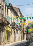Villeveyrac (France). Villeveyrac (Herault, Languedoc-Roussillon, France): typical street of the historic town royalty free stock images