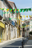 Villeveyrac (France). Villeveyrac (Herault, Languedoc-Roussillon, France): typical street of the historic town stock photography