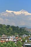 Villiage under Himalayan mountain royalty free stock images