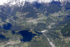 Vilminore di Scalve aerial, Italy Royalty Free Stock Photography