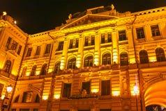 Vilna, Lituania - 6 de enero de 2017: Filarmónico nacional lituano en la noche Fotografía de archivo libre de regalías