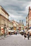 Vilniaus街道在考纳斯 立陶宛 免版税库存照片