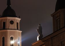 Vilnius. Bell Tower at Night in Vilnius, Lithuania Stock Photo