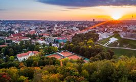 Vilnius aerial photo at sunset. Vilnius aerial flight shoot of old city Royalty Free Stock Photos